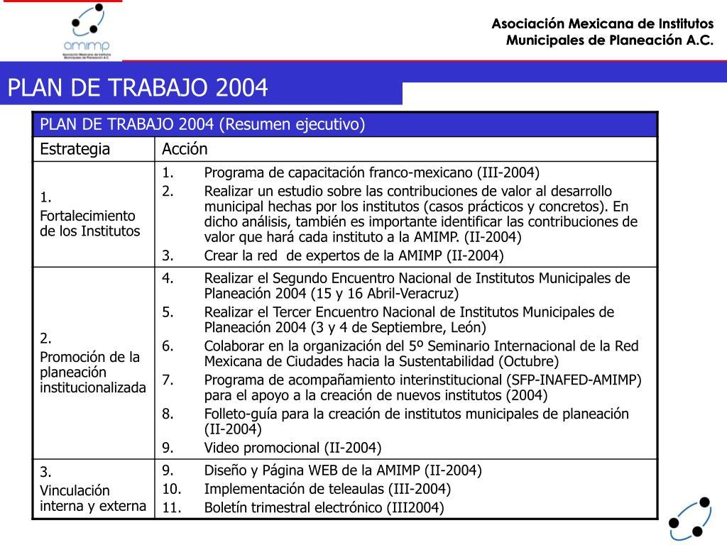 PLAN DE TRABAJO 2004
