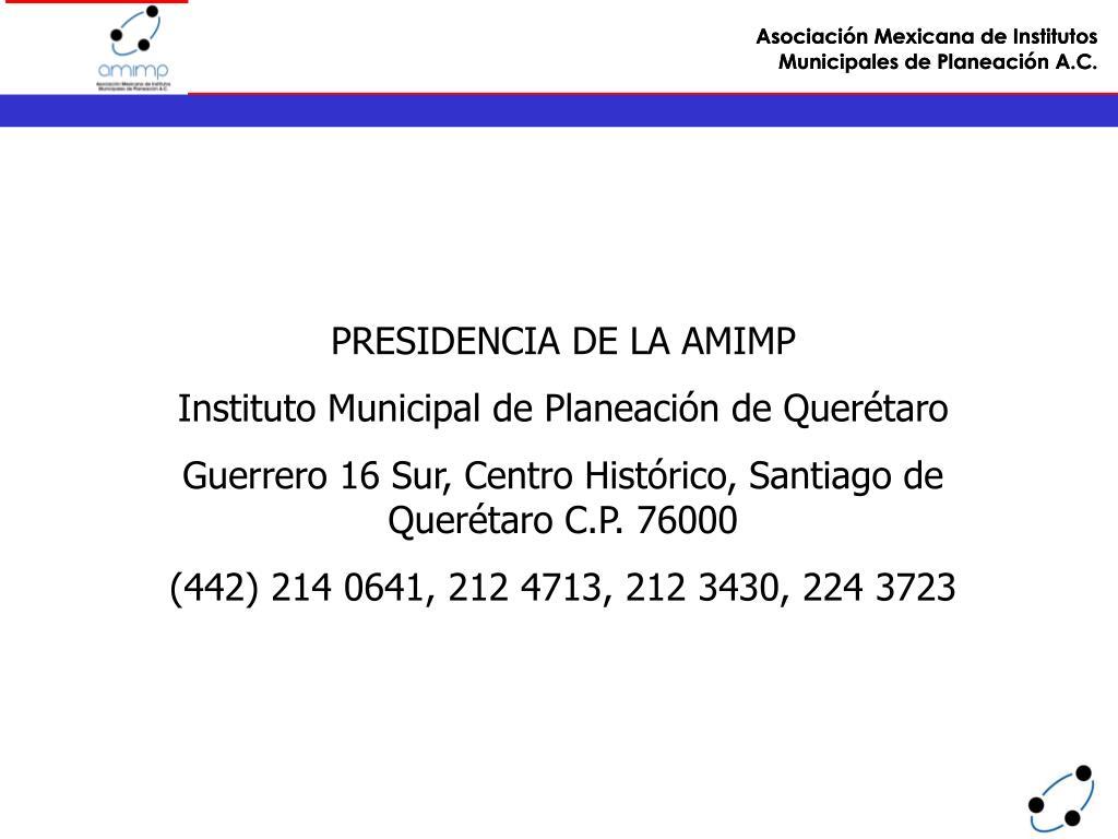 PRESIDENCIA DE LA AMIMP