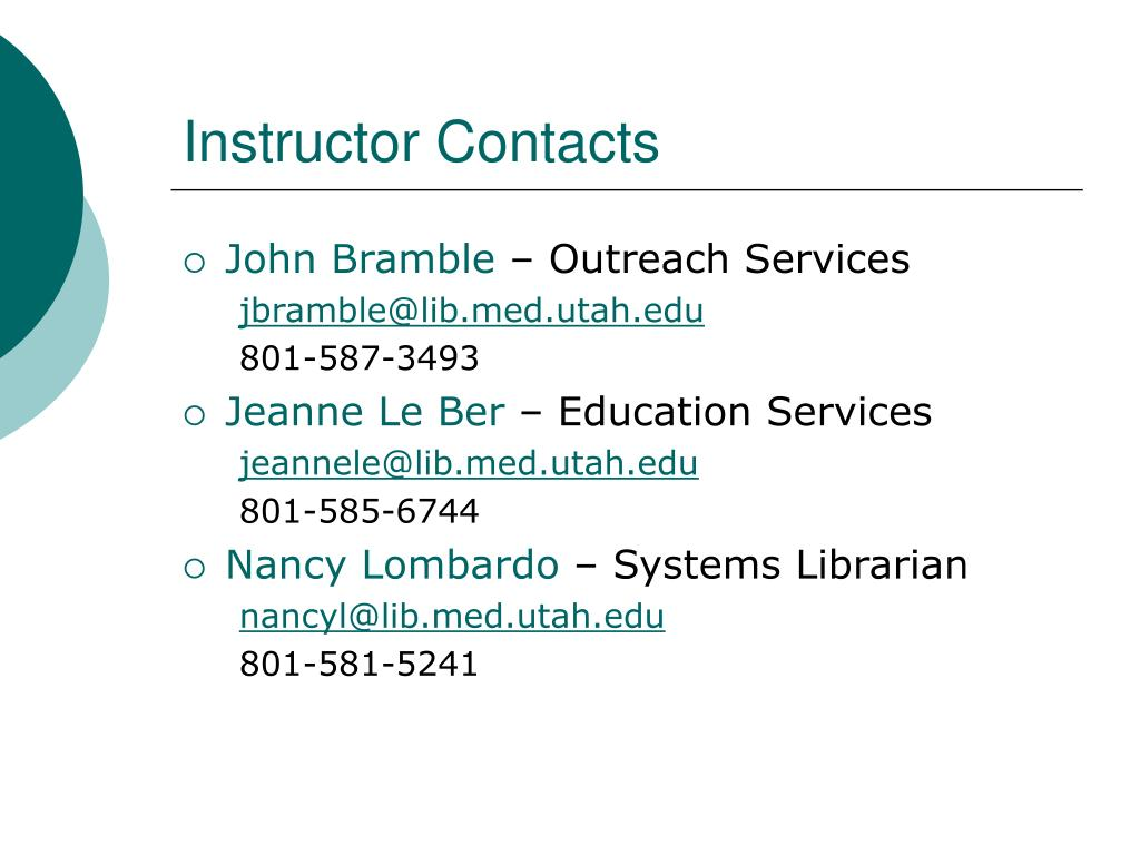 Instructor Contacts