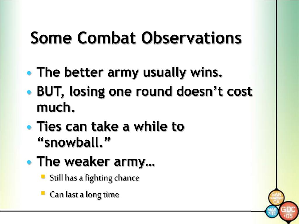 Some Combat Observations