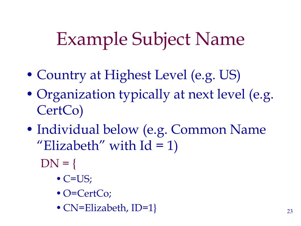Example Subject Name
