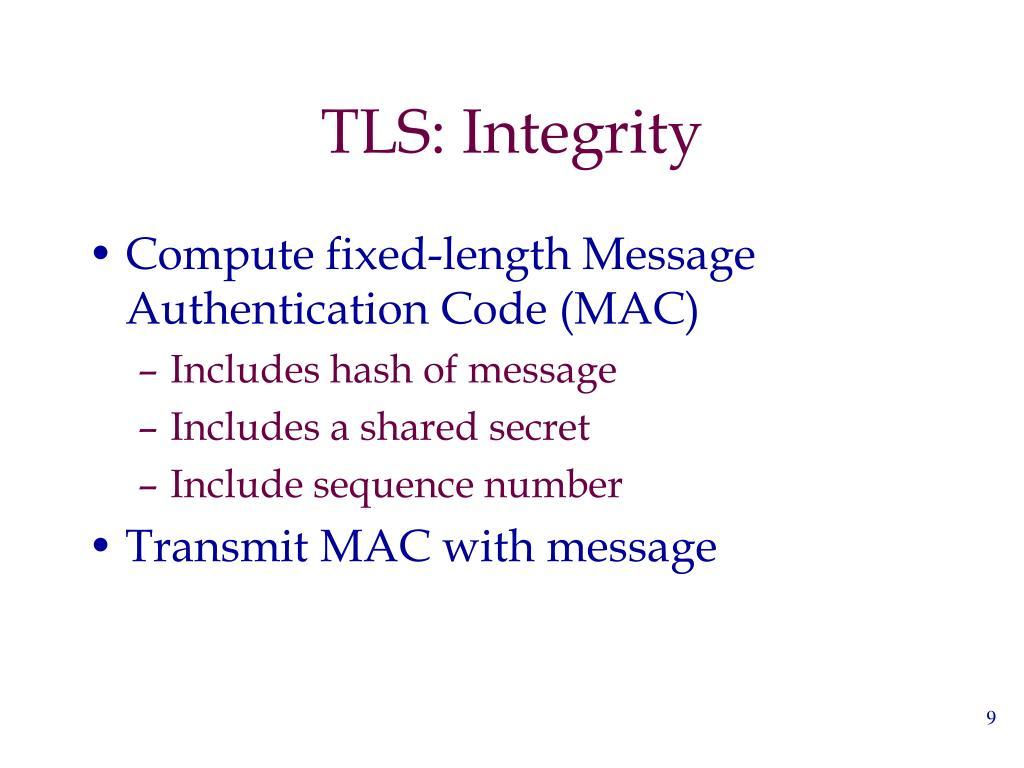 TLS: Integrity