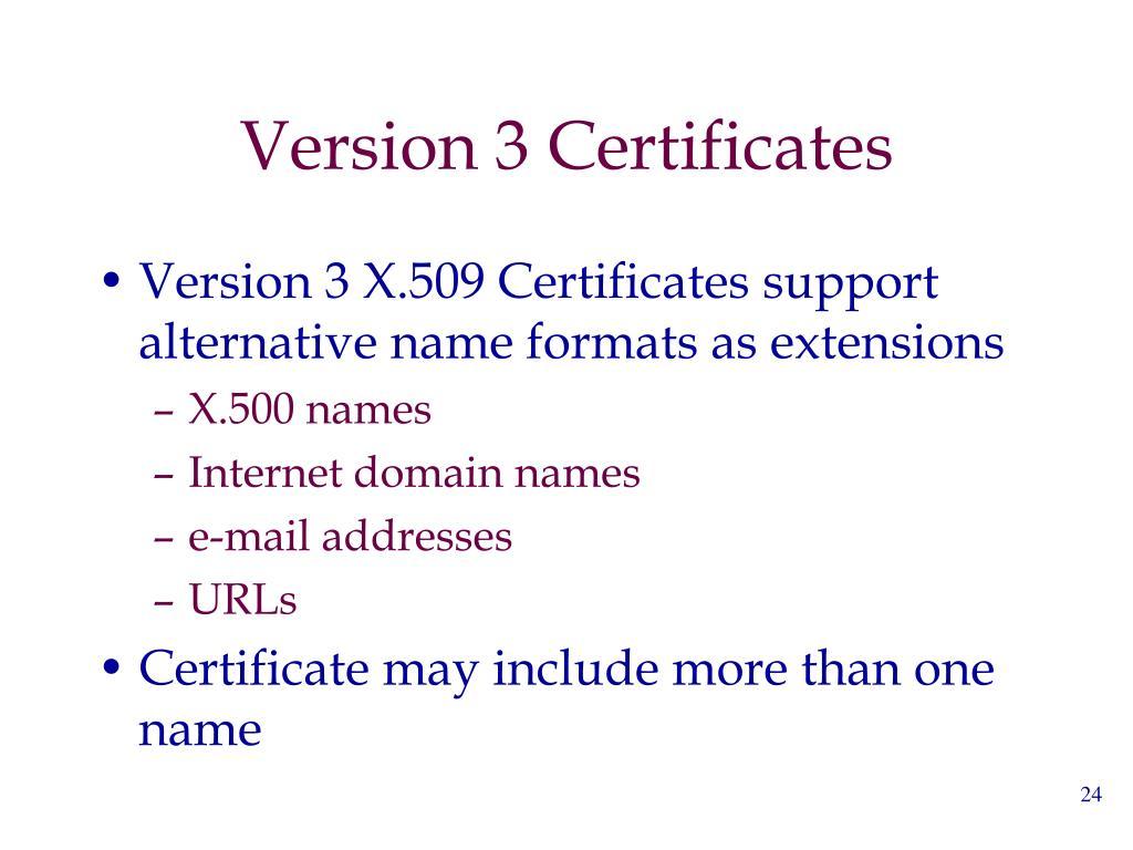 Version 3 Certificates