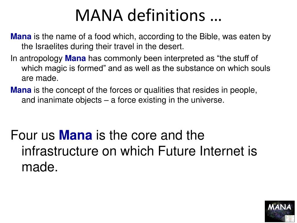 MANA definitions …