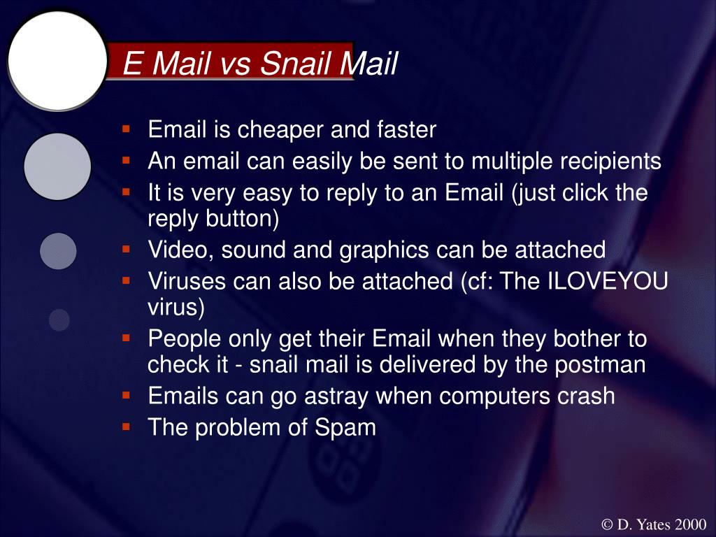 E Mail vs Snail Mail