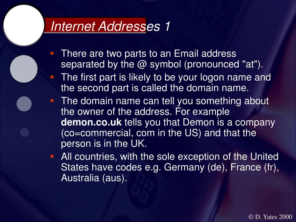 Internet Addresses 1