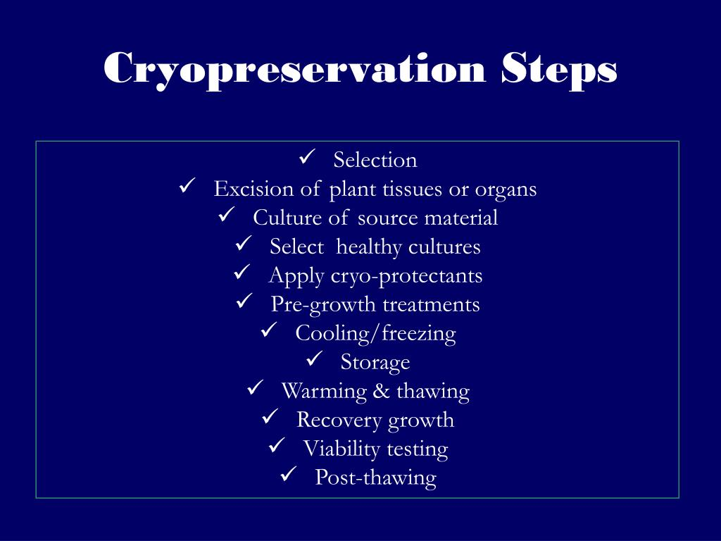 Cryopreservation Steps