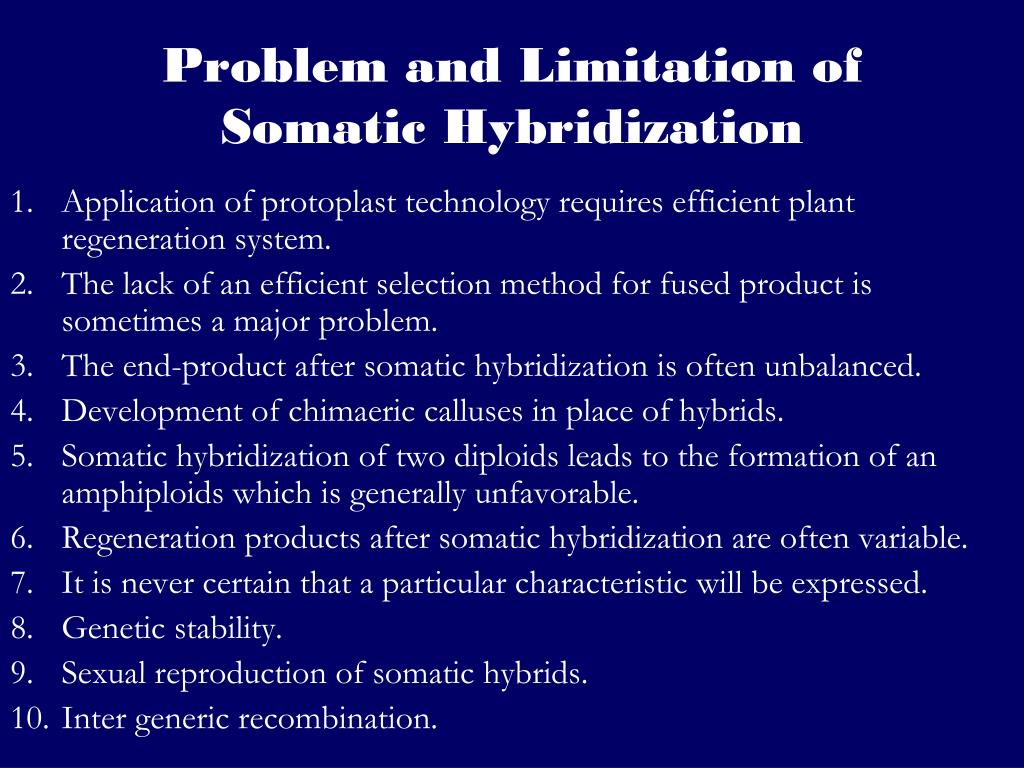 Problem and Limitation of Somatic Hybridization