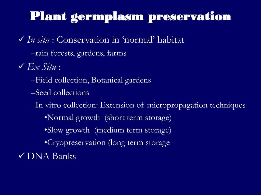 Plant germplasm preservation