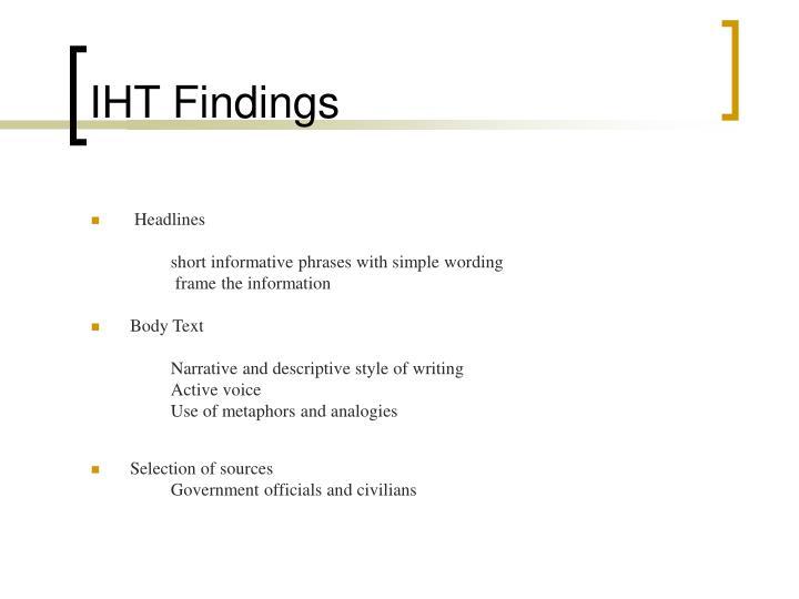 IHT Findings