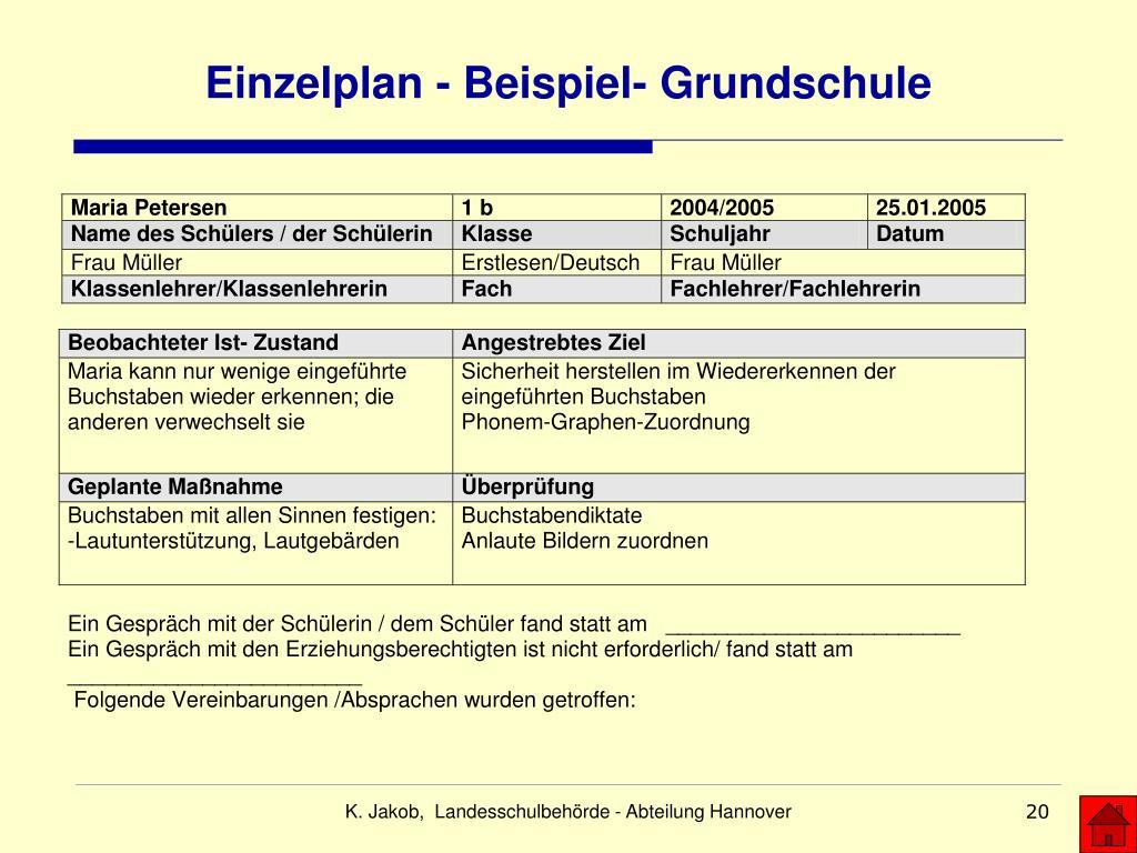 Einzelplan - Beispiel- Grundschule
