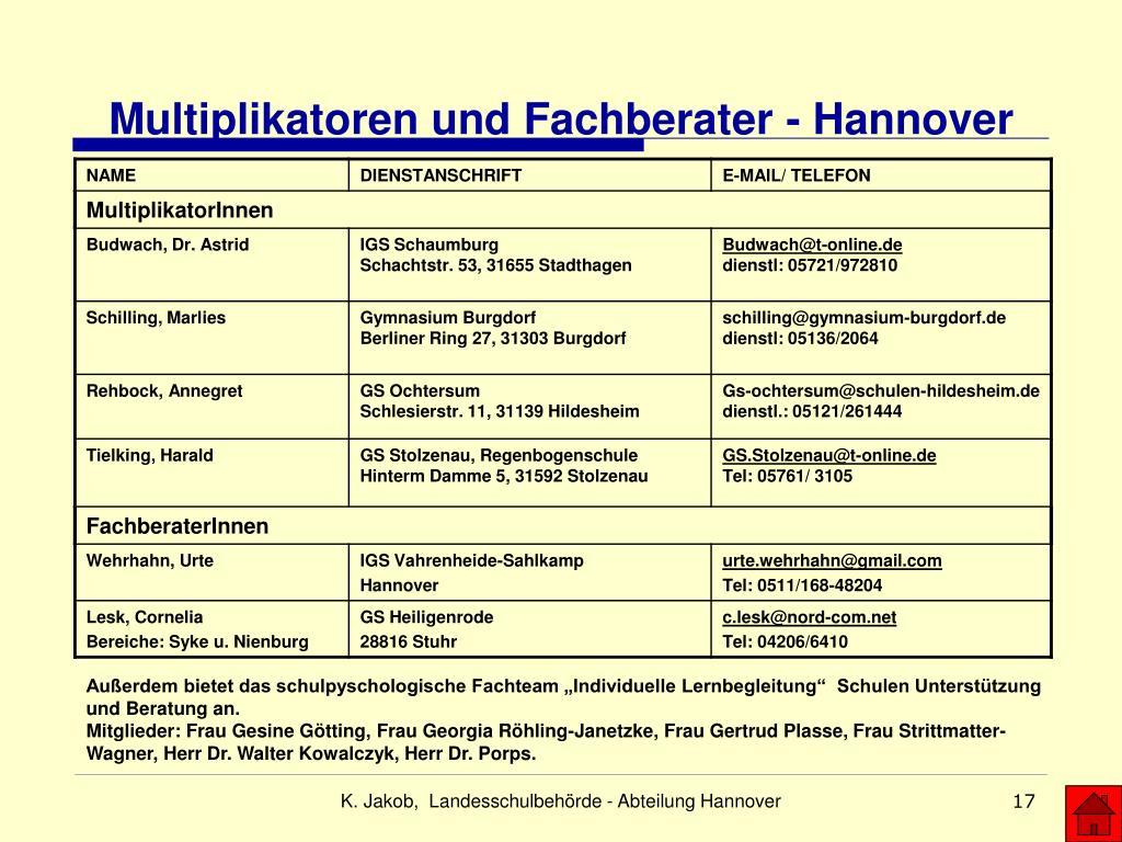 Multiplikatoren und Fachberater - Hannover