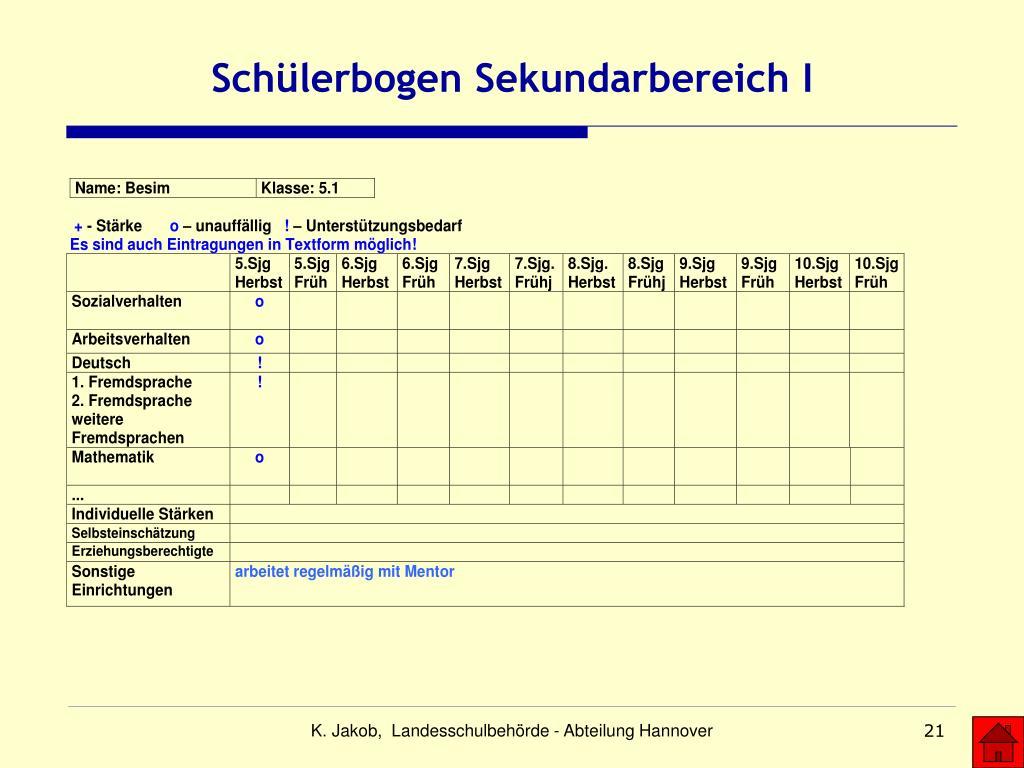 Schülerbogen Sekundarbereich I