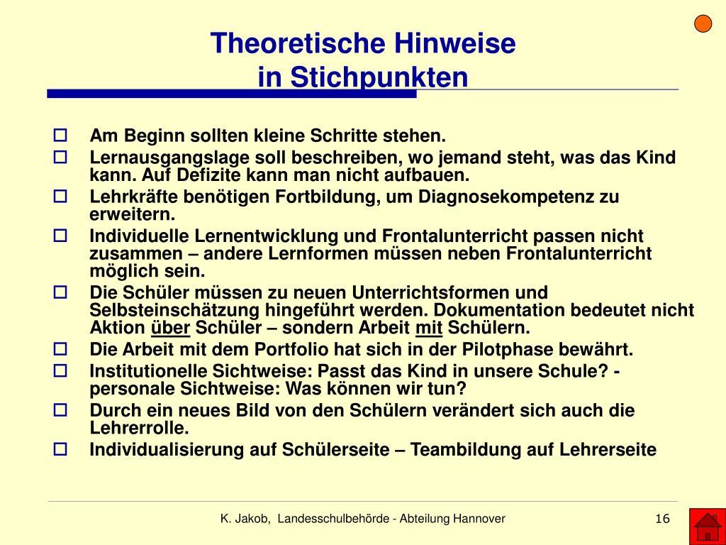 Theoretische Hinweise