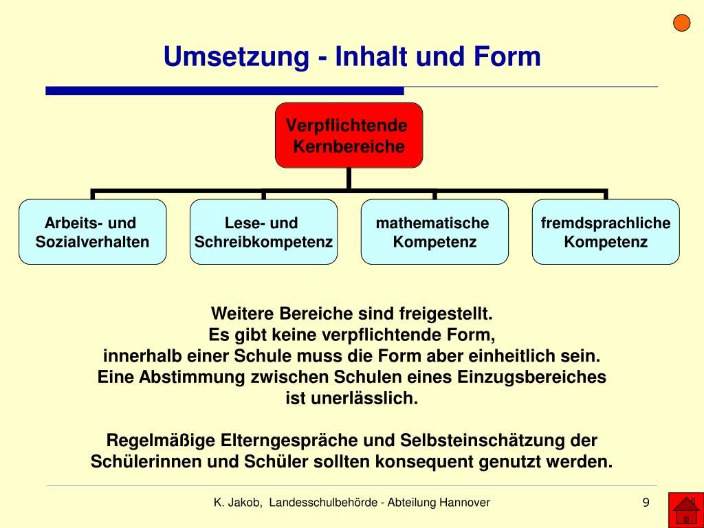 Umsetzung - Inhalt und Form