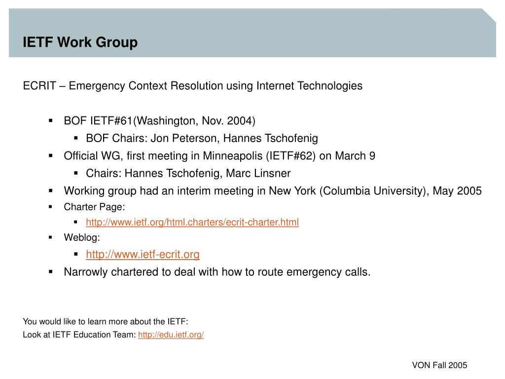 IETF Work Group