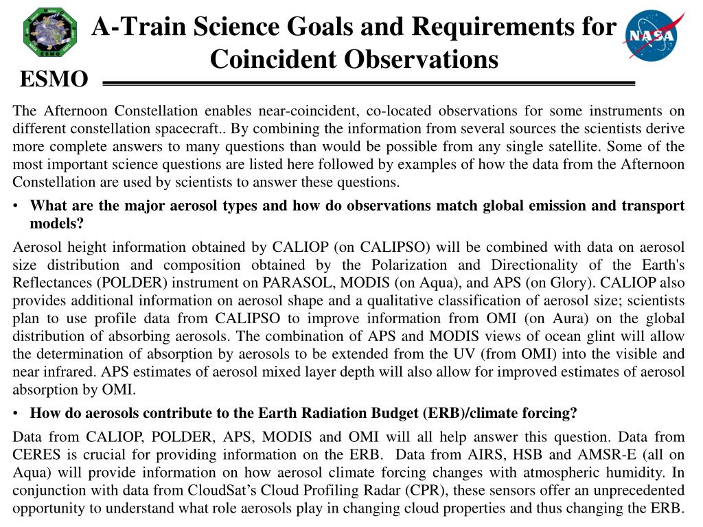 A-Train Science Goals and Requirements for Coincident Observations