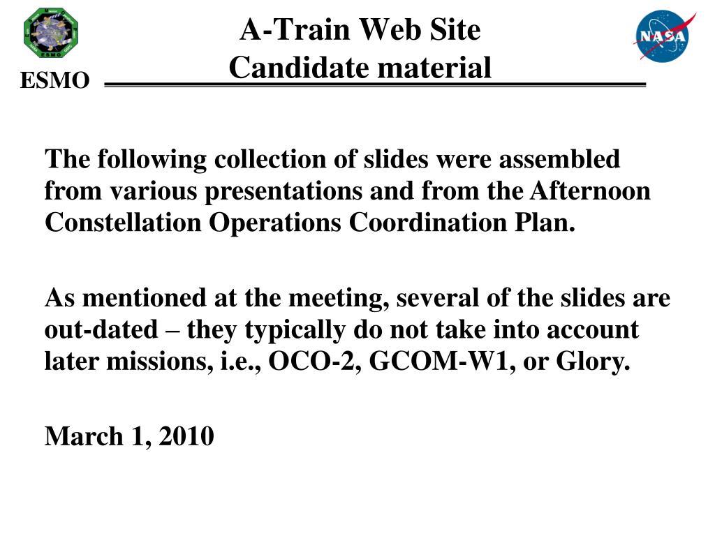 a train web site candidate material