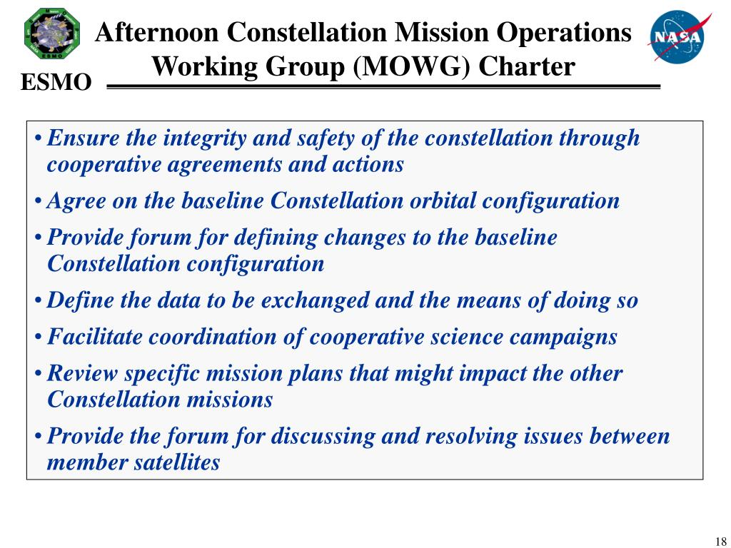 Afternoon Constellation Mission Operations Working Group (MOWG) Charter