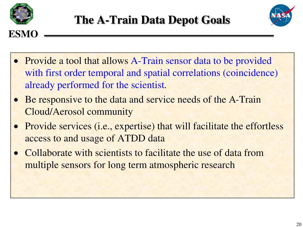 The A-Train Data Depot Goals