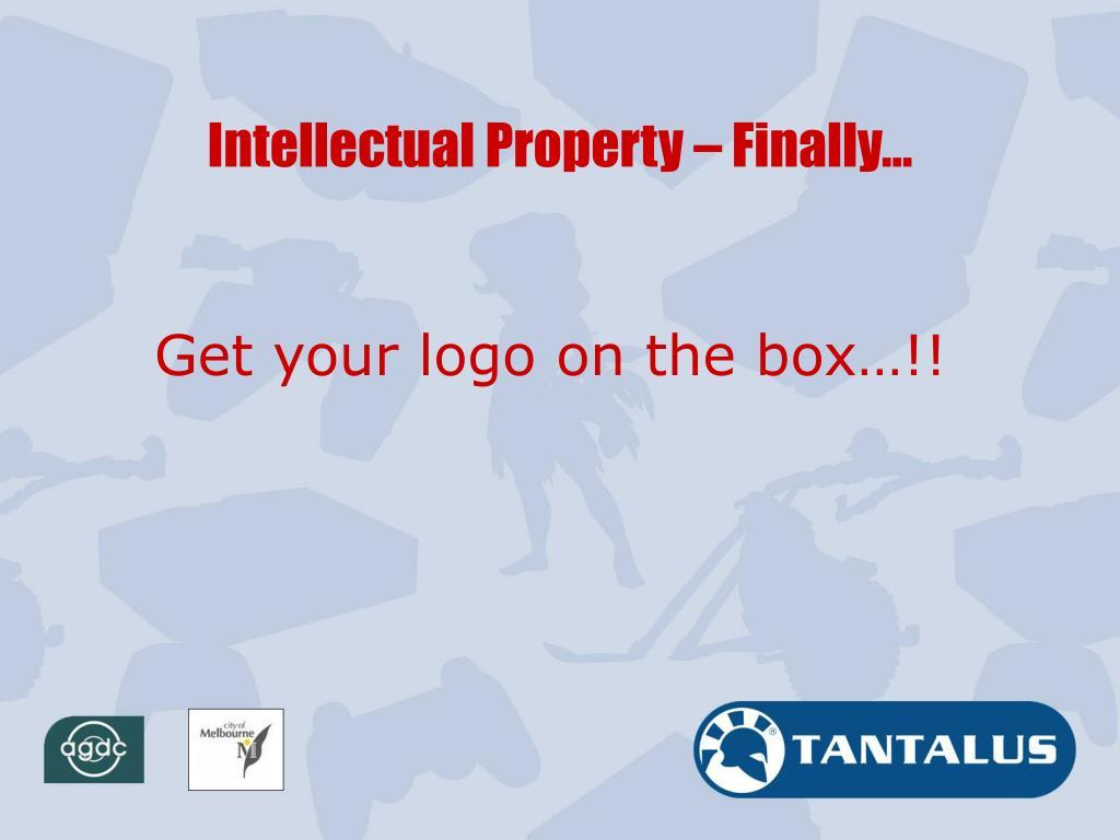 Intellectual Property – Finally…