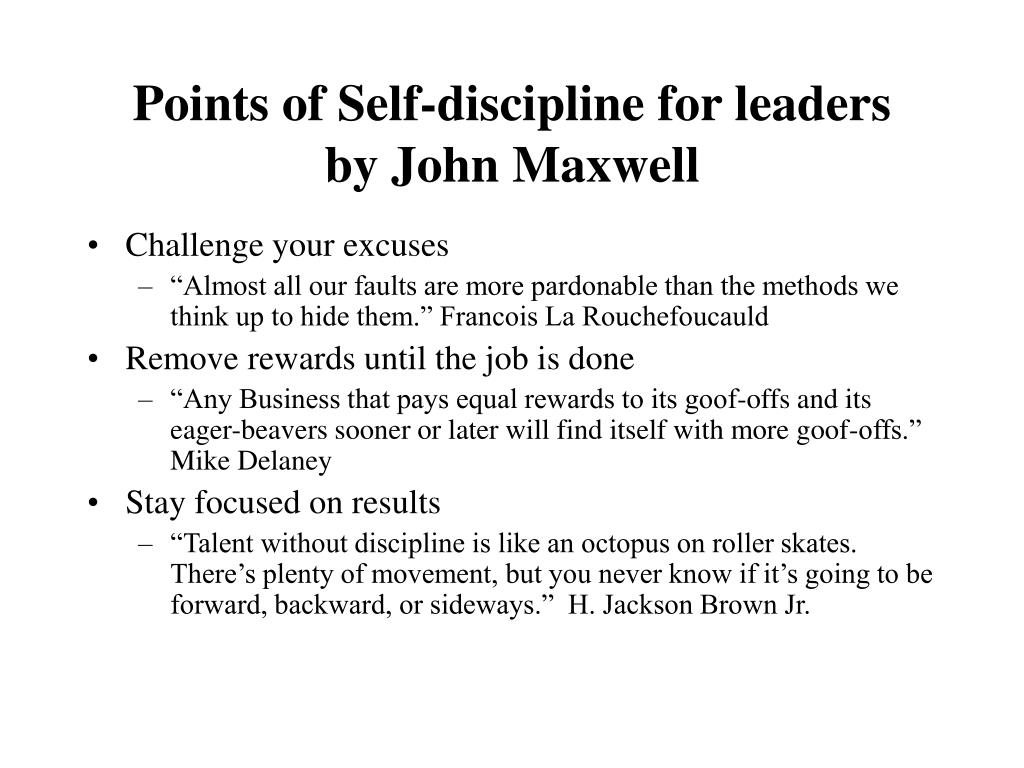 Points of Self-discipline for leaders