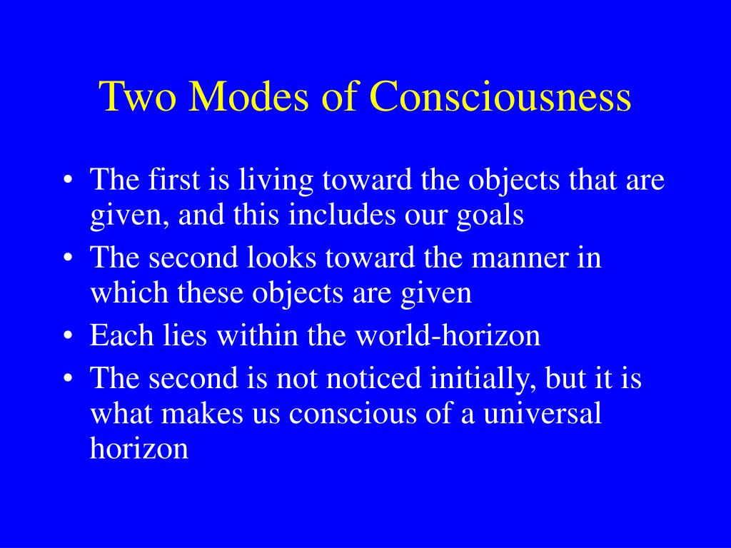 Two Modes of Consciousness
