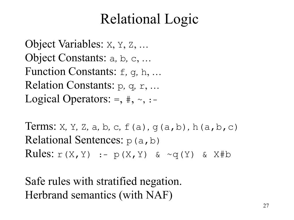 Relational Logic