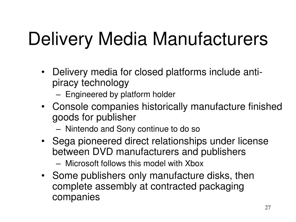 Delivery Media Manufacturers
