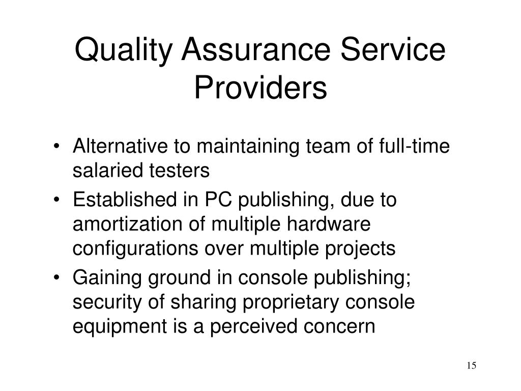 Quality Assurance Service Providers