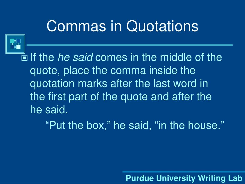Commas in Quotations