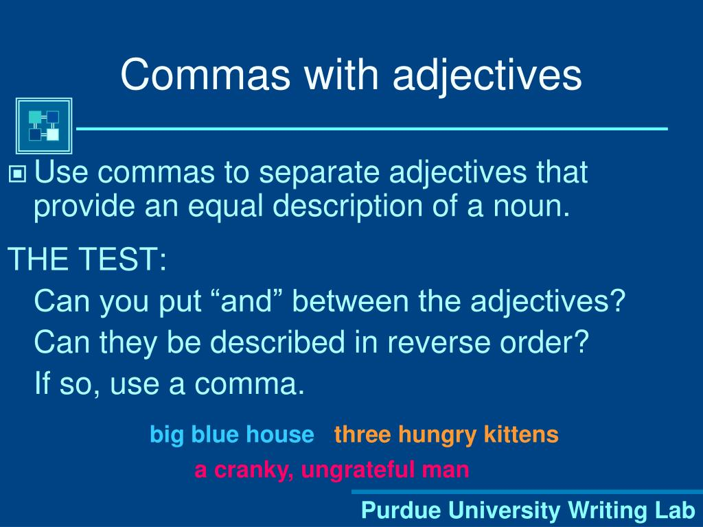 Commas with adjectives