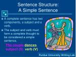 sentence structure a simple sentence