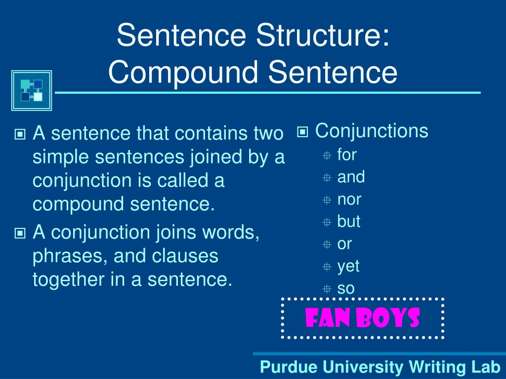 A sentence that contains two simple sentences joined by a conjunction is called a compound sentence.