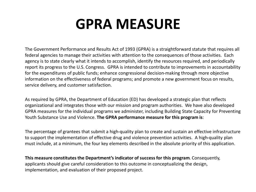 GPRA MEASURE