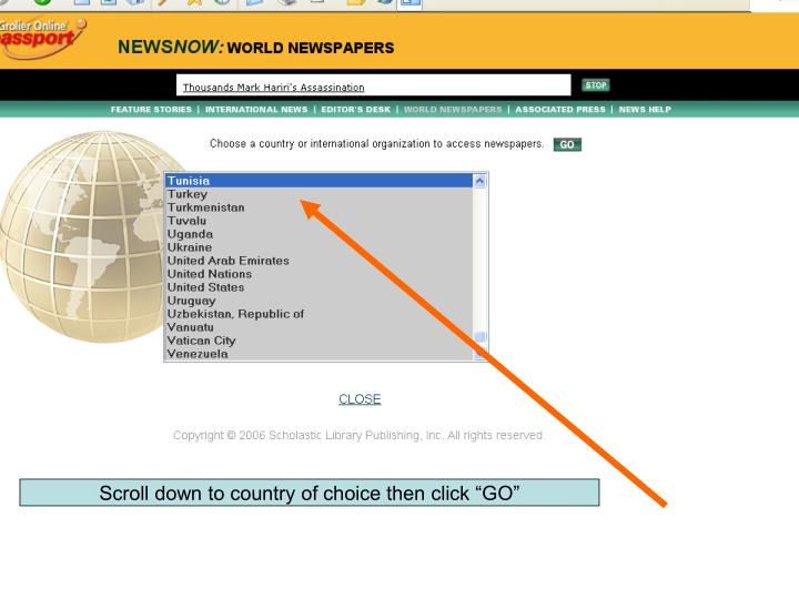 """Scroll down to country of choice then click """"GO"""""""