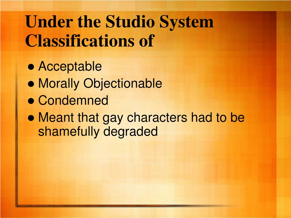 Under the Studio System Classifications of