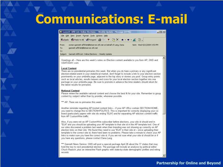 Communications: E-mail