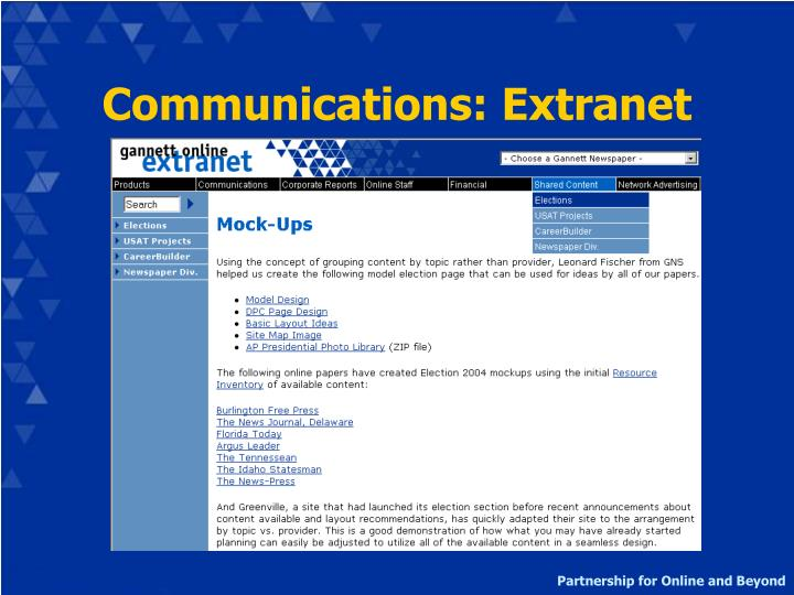 Communications: Extranet