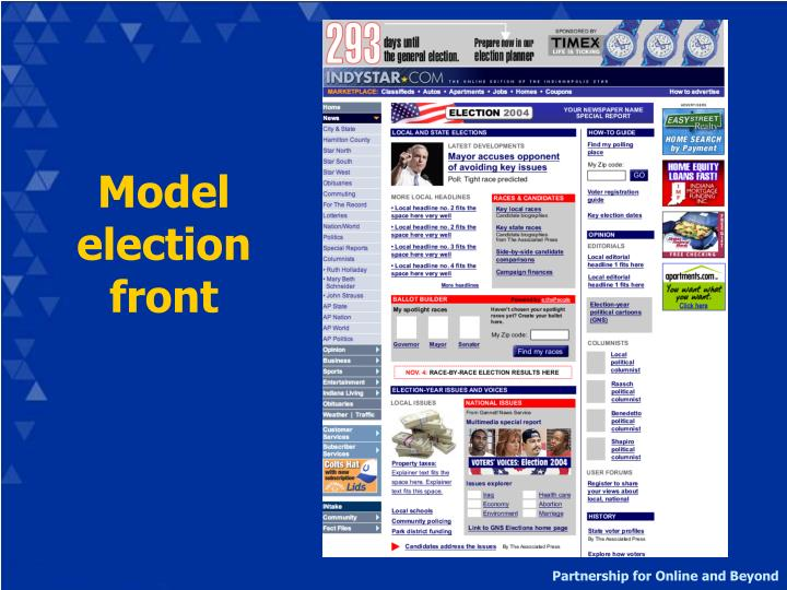Model election front