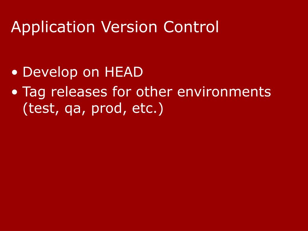 Application Version Control