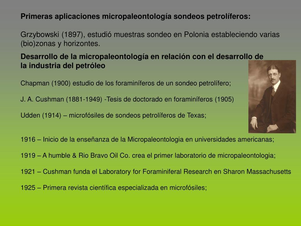 Primeras aplicaciones micropaleontolog
