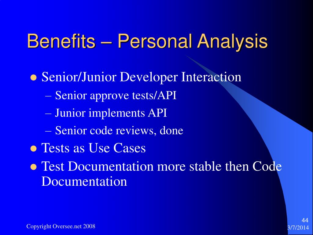 Benefits – Personal Analysis