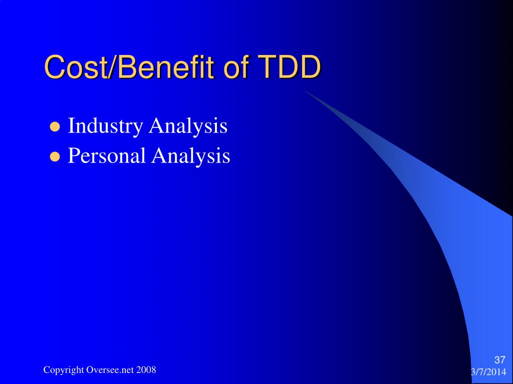 Cost/Benefit of TDD