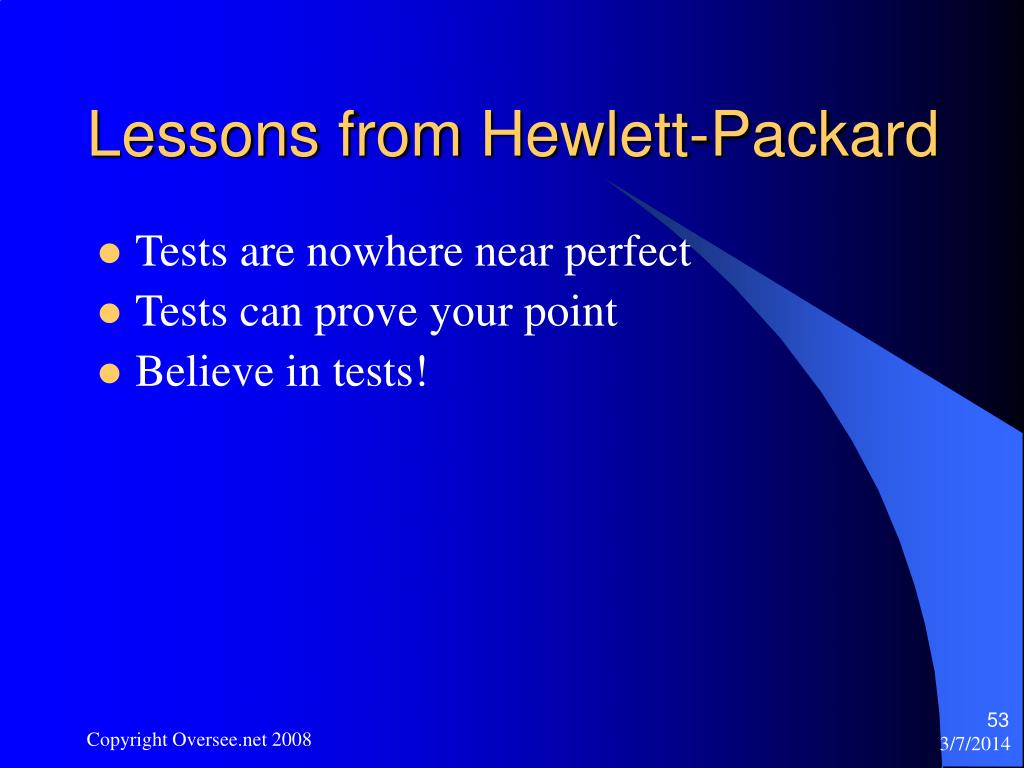 Lessons from Hewlett-Packard