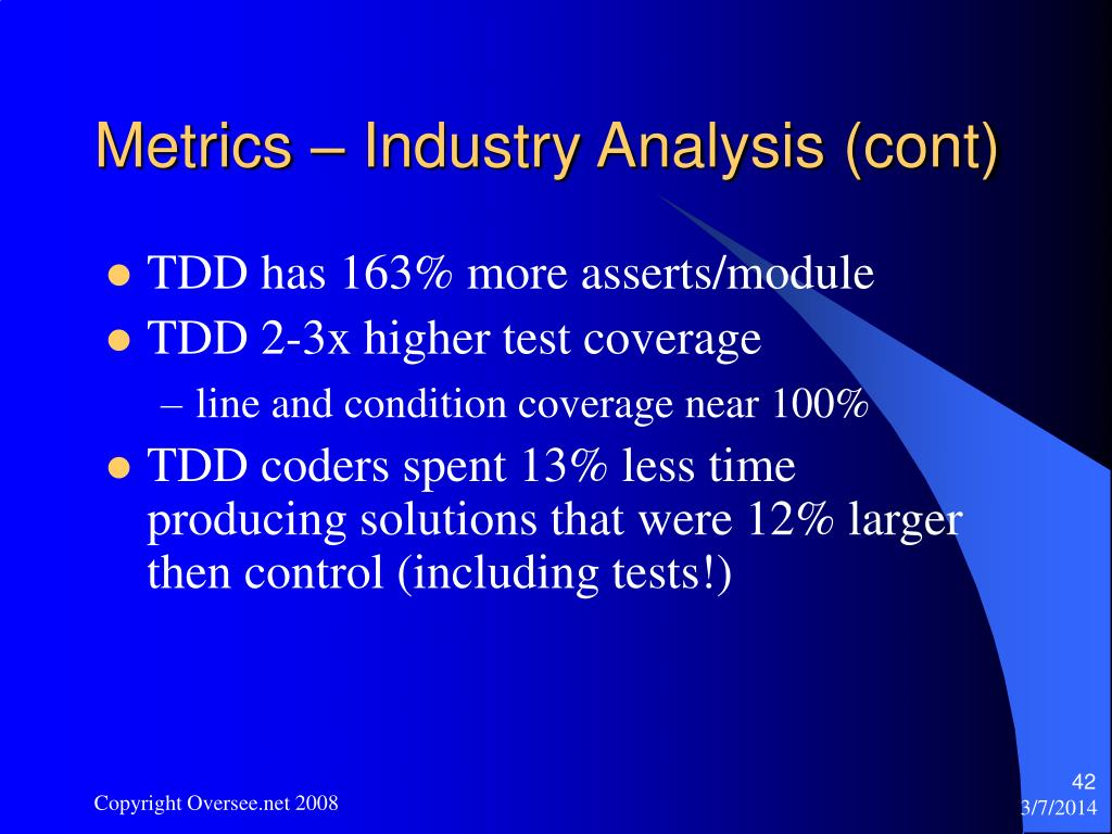 Metrics – Industry Analysis (cont)