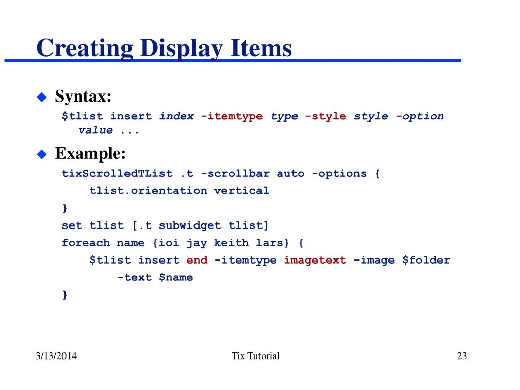 Creating Display Items