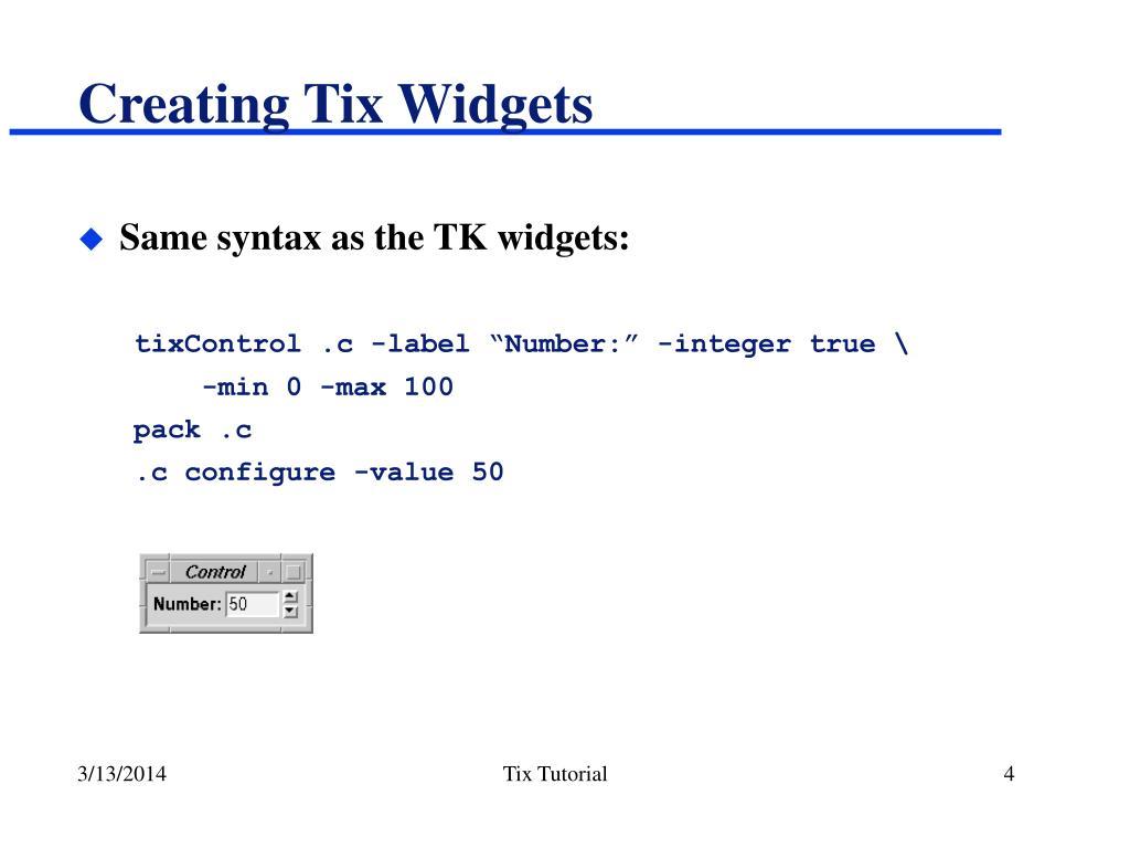 Creating Tix Widgets