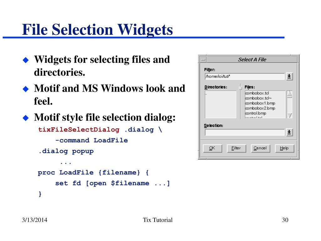File Selection Widgets