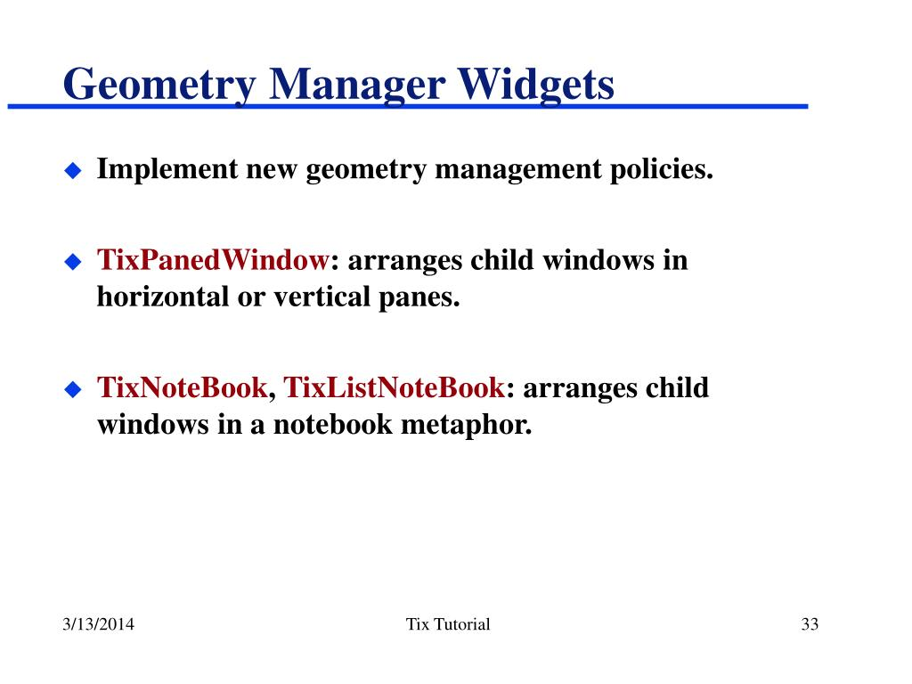Geometry Manager Widgets